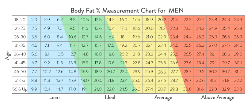 Mens Body Fat % Chart